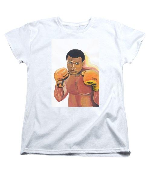 Women's T-Shirt (Standard Cut) featuring the painting Mohammed Ali by Emmanuel Baliyanga