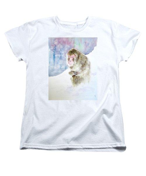 Women's T-Shirt (Standard Cut) featuring the painting Monkey In Meditation by Yoshiko Mishina