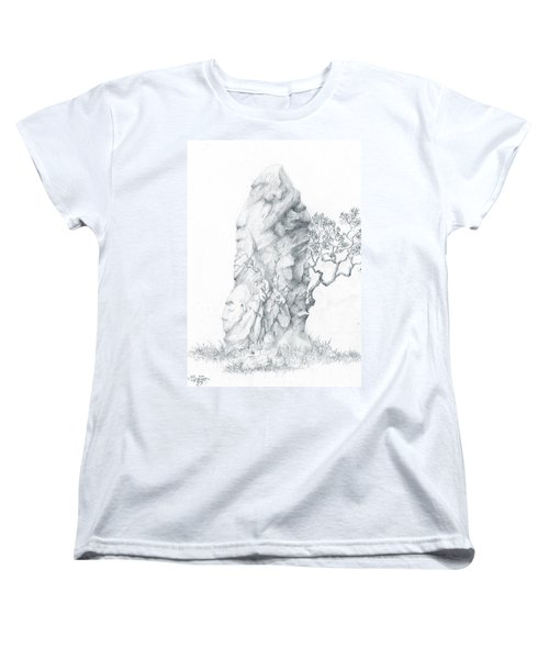 Women's T-Shirt (Standard Cut) featuring the drawing Monolith 2 by Curtiss Shaffer