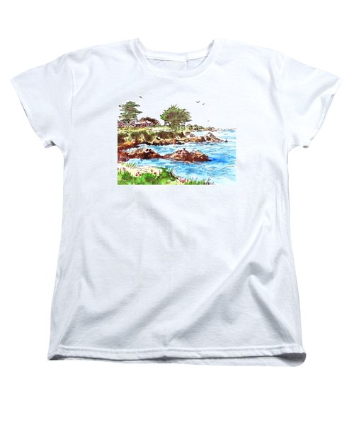 Women's T-Shirt (Standard Cut) featuring the painting Monterey Shore by Irina Sztukowski