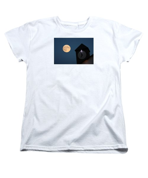 Moon And Clock Tower Women's T-Shirt (Standard Cut)