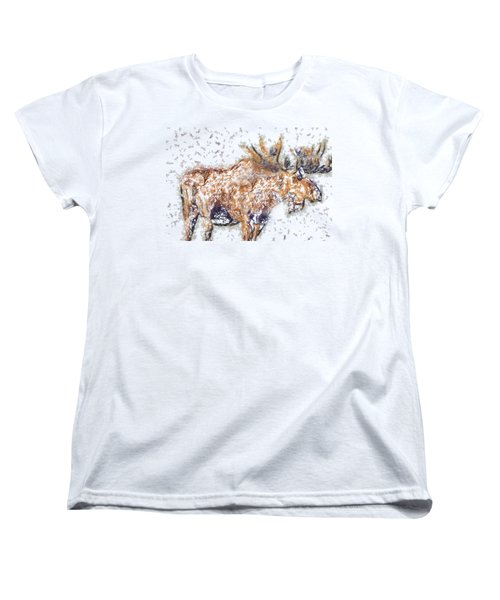 Women's T-Shirt (Standard Cut) featuring the digital art Moose-sticks by Elaine Ossipov