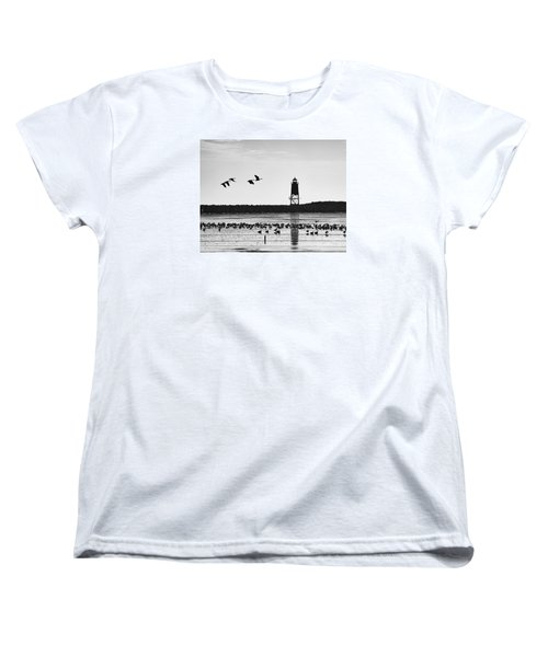Women's T-Shirt (Standard Cut) featuring the photograph Morning At Racine Lakefront by Ricky L Jones
