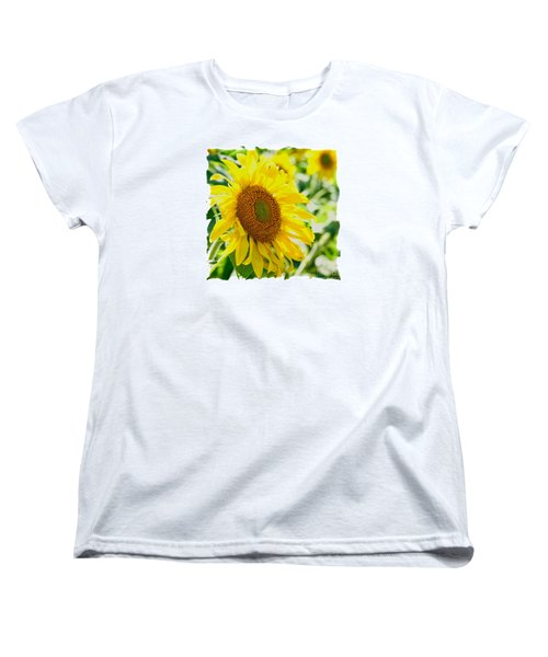 Morning Glory Farm Sun Flower Women's T-Shirt (Standard Cut) by Vinnie Oakes