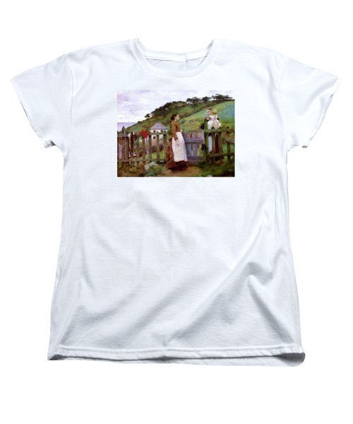 Women's T-Shirt (Standard Cut) featuring the painting Morning Gossip by Henry Scott Tuke