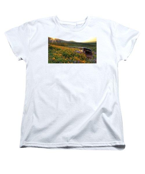 Morning Light On The Old Rusty Car Women's T-Shirt (Standard Cut) by Lynn Hopwood