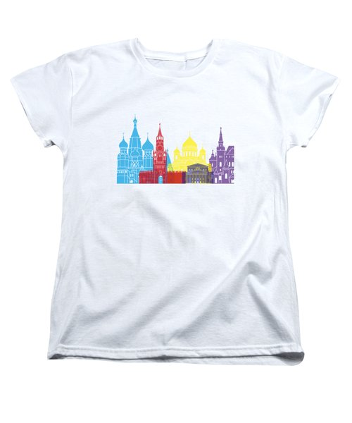 Moscow Skyline Pop Women's T-Shirt (Standard Cut) by Pablo Romero
