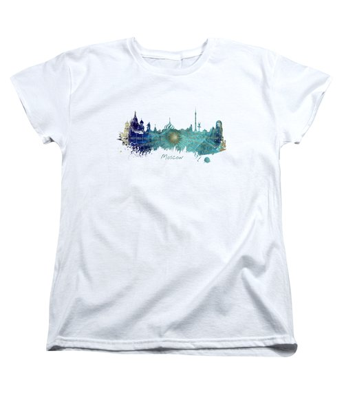 Moscow Skyline Wind Rose Women's T-Shirt (Standard Cut) by Justyna JBJart