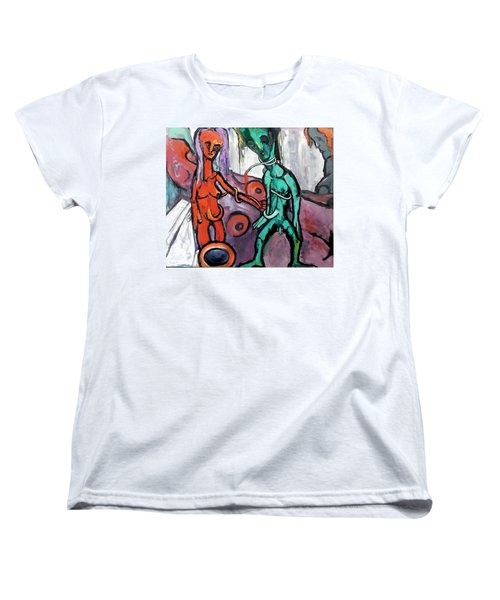 Women's T-Shirt (Standard Cut) featuring the painting Mother-giant--offspring by Kenneth Agnello