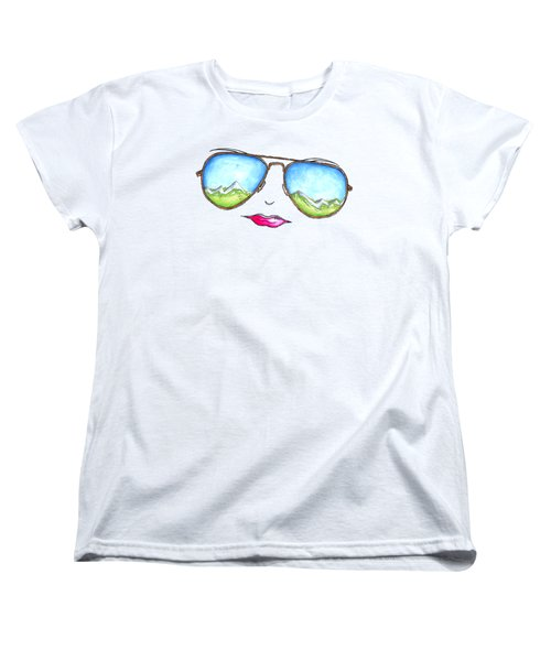 Mountain View Aviator Sunglasses Pop Art Painting Pink Lips Aroon Melane 2015 Collection Women's T-Shirt (Standard Fit)