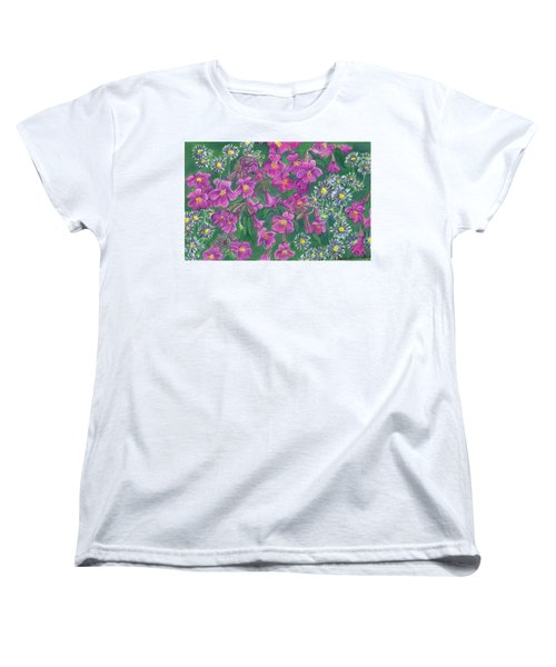 Women's T-Shirt (Standard Cut) featuring the drawing Mountain Wild Flowers by Dawn Senior-Trask
