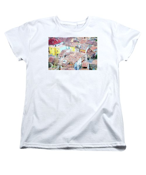 Moustiers Sainte Marie Roofs Women's T-Shirt (Standard Cut) by Anastasy Yarmolovich