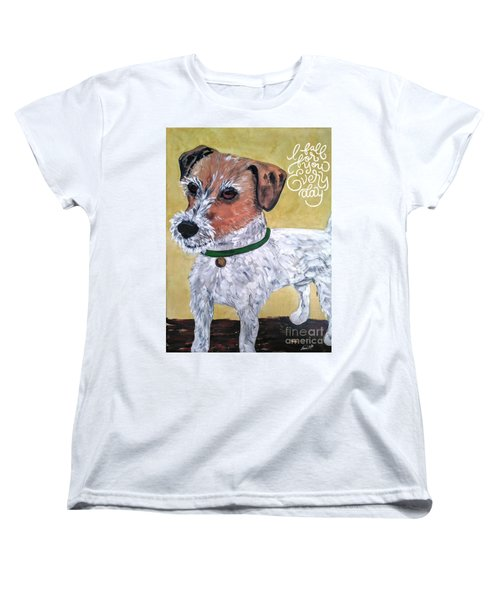 Women's T-Shirt (Standard Cut) featuring the painting Mr. R. Terrier by Reina Resto