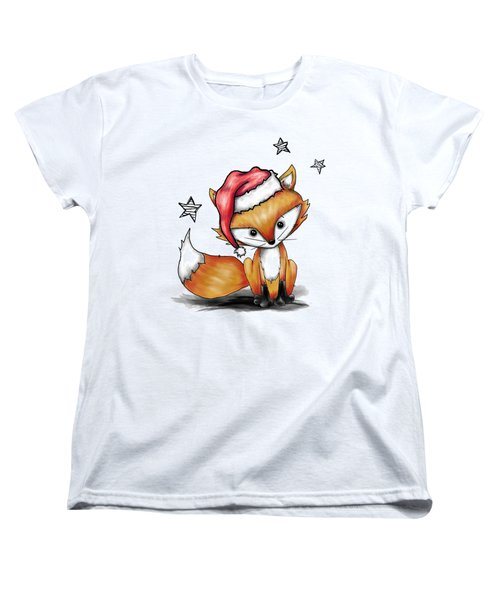 Women's T-Shirt (Standard Cut) featuring the painting Mr Sweets The Fox As Santa by Lizzy Love