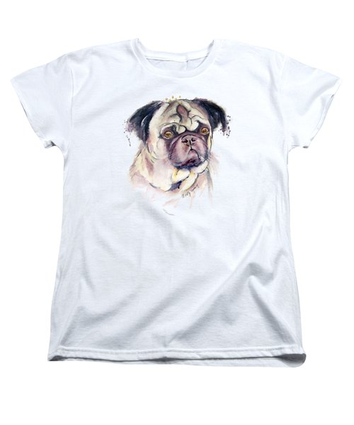 Mr Thinker Pug Watercolor Women's T-Shirt (Standard Cut) by Melly Terpening