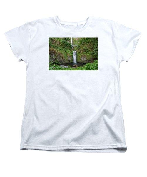 Women's T-Shirt (Standard Cut) featuring the photograph Multnomah Falls In Spring by Greg Nyquist