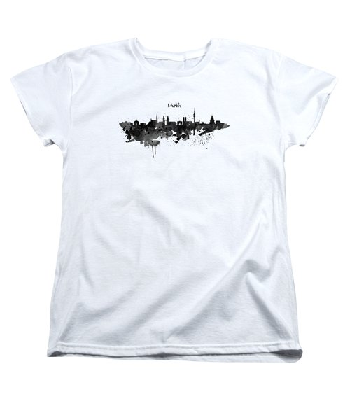 Munich Black And White Skyline Silhouette Women's T-Shirt (Standard Cut) by Marian Voicu