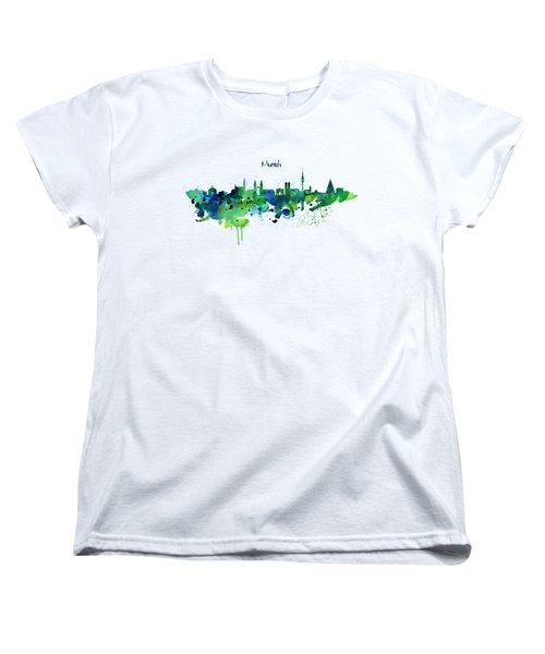 Munich Skyline Silhouette Women's T-Shirt (Standard Cut) by Marian Voicu