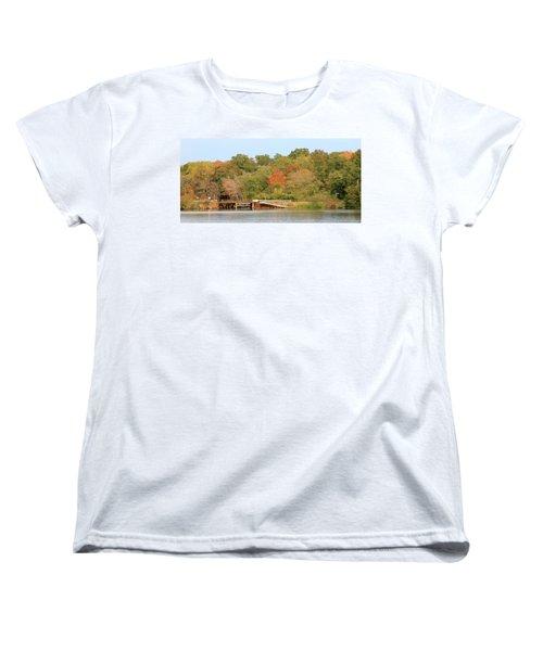 Women's T-Shirt (Standard Cut) featuring the photograph Murphy Mill Dam/bridge by Jerry Battle