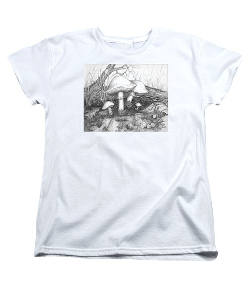 Women's T-Shirt (Standard Cut) featuring the drawing Mushrooms -pencil Study by Doug Kreuger
