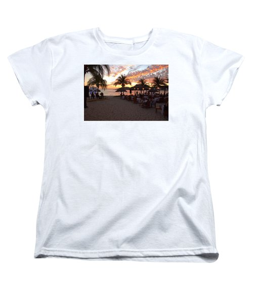 Women's T-Shirt (Standard Cut) featuring the photograph Music And Dining On The Beach by Jim Walls PhotoArtist