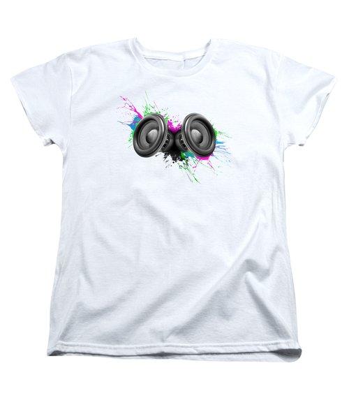 Music Speakers Colorful Design Women's T-Shirt (Standard Cut) by Johan Swanepoel