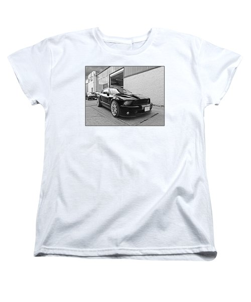 Mustang Alley In Black And White Women's T-Shirt (Standard Cut) by Gill Billington