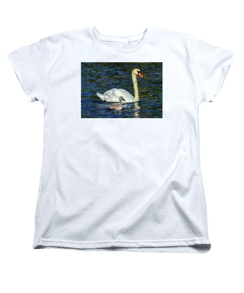 Mute Swan, Cygnus Olor, Mother And Baby Women's T-Shirt (Standard Cut) by Elenarts - Elena Duvernay photo