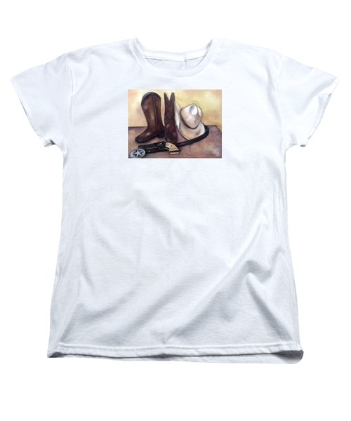 Women's T-Shirt (Standard Cut) featuring the painting My Cowboy's Home by Annamarie Sidella-Felts
