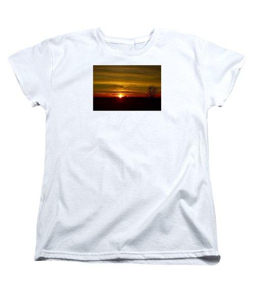 Women's T-Shirt (Standard Cut) featuring the photograph My First 2016 Sunset Photo by Dacia Doroff