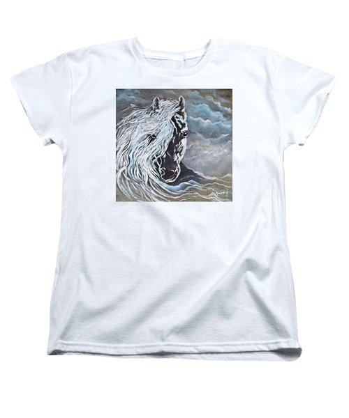 My White Dream Horse Women's T-Shirt (Standard Cut) by AmaS Art