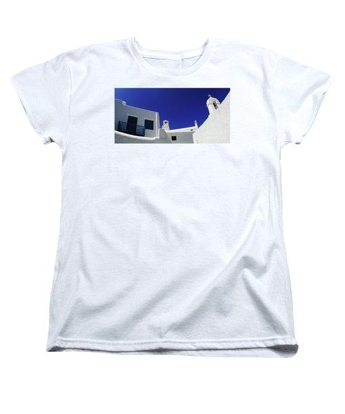 Women's T-Shirt (Standard Cut) featuring the photograph Mykonos Greece Clean Line Architecture by Bob Christopher