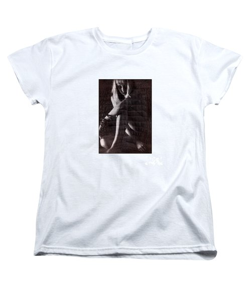 Naked Girl Hiding Women's T-Shirt (Standard Cut) by Michael Edwards