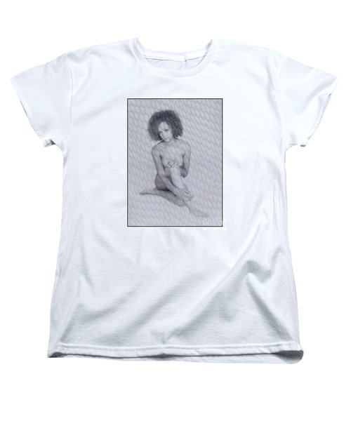 Women's T-Shirt (Standard Cut) featuring the photograph Naked Girl With Curly Hair by Michael Edwards