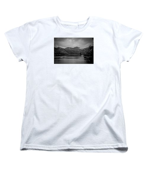Nantahala River Great Smoky Mountains In Black And White Women's T-Shirt (Standard Cut) by Kelly Hazel