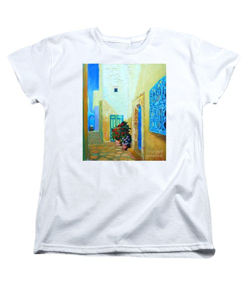 Women's T-Shirt (Standard Cut) featuring the painting Narrow Street In Hammamet by Ana Maria Edulescu