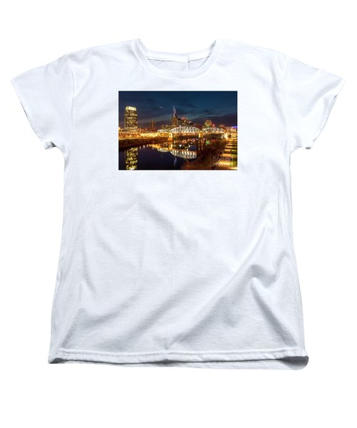 Women's T-Shirt (Standard Cut) featuring the photograph Nashville Twilight Skyline II by Brian Jannsen