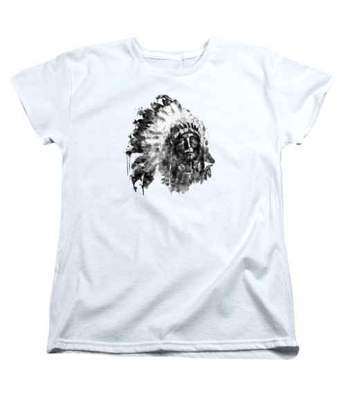 Women's T-Shirt (Standard Cut) featuring the mixed media Native American Chief Black And White by Marian Voicu