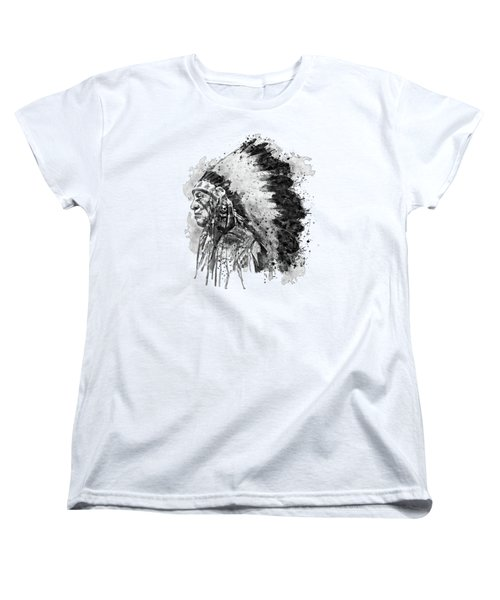 Women's T-Shirt (Standard Cut) featuring the mixed media Native American Chief Side Face Black And White by Marian Voicu