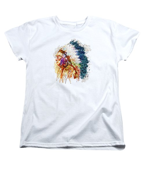 Native American Chief Side Face Women's T-Shirt (Standard Cut) by Marian Voicu