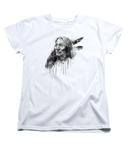 Women's T-Shirt (Standard Cut) featuring the mixed media Native American Portrait Black And White by Marian Voicu