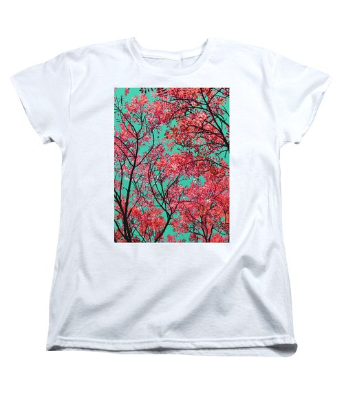 Natures Magic - Fire Red Women's T-Shirt (Standard Cut) by Rebecca Harman