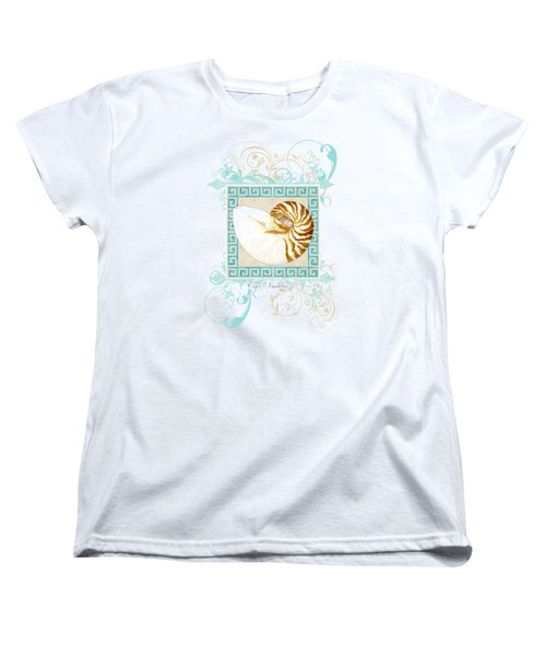 Women's T-Shirt (Standard Cut) featuring the painting Nautilus Shell Greek Key W Swirl Flourishes by Audrey Jeanne Roberts