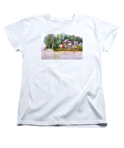 New England Boat Repair Women's T-Shirt (Standard Cut) by Larry Hamilton