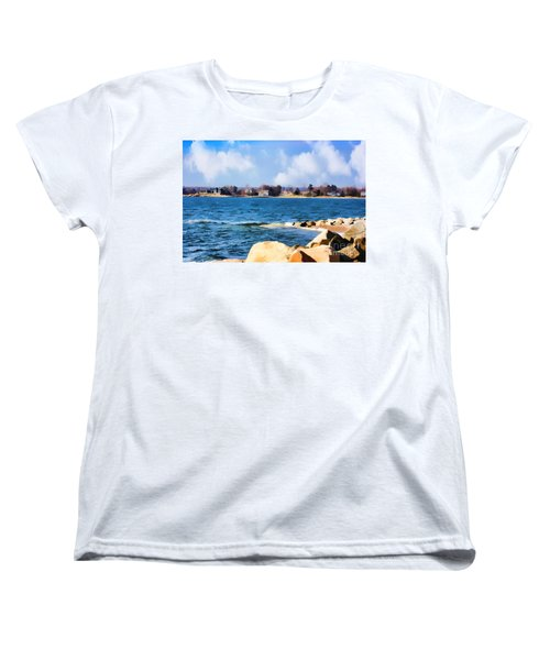 New England Shoreline - Painterly Women's T-Shirt (Standard Cut) by Judy Palkimas