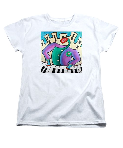 Women's T-Shirt (Standard Cut) featuring the painting New Orleans Cool Jazz Piano by Bob Baker