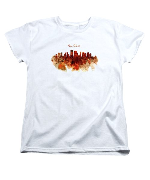 New Orleans Watercolor Skyline Women's T-Shirt (Standard Cut) by Marian Voicu