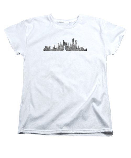 New York City Skyline B/w Women's T-Shirt (Standard Cut) by Anton Kalinichev