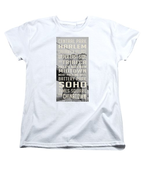 New York City Subway Stops Vintage Brooklyn Bridge Women's T-Shirt (Standard Cut) by Edward Fielding