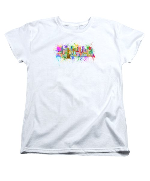 New York Skyline Paint Splatter Illustration Women's T-Shirt (Standard Cut) by Jit Lim